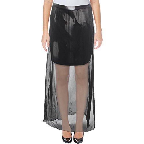 T Tahari Womens Jarinda Sheer Contrast Trim A-Line Skirt Black 6