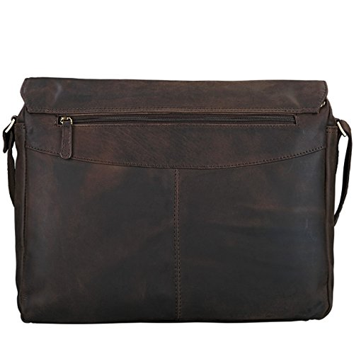 STILORD 'Lonzo' Vintage Bolso de Bandolera Hombres Mujer Piel Laptop 15.6 pulgadas Messenger Bag Portatil Maletín cuero auténtico, Color:marrón antico marrón oscuro - opaco