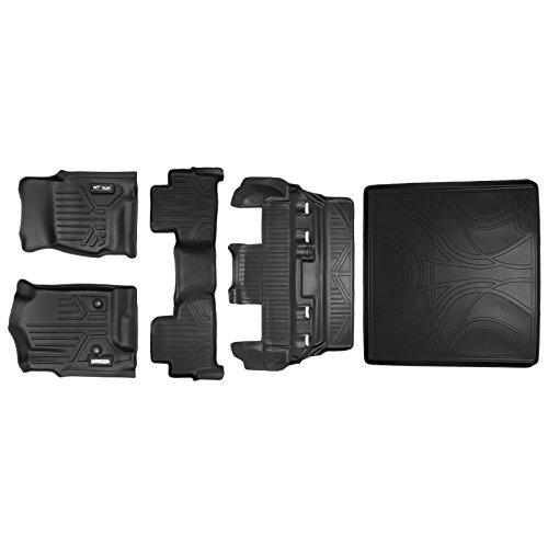 - SMARTLINER Floor Mats 3 Rows and Cargo Liner Behind 2nd Row Set Black for 2015-2018 Chevy Tahoe / GMC Yukon