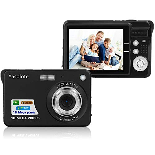HD Mini Digital Camera with 2.7 Inch TFT LCD Display, Digital Point and Shoot Camera Black