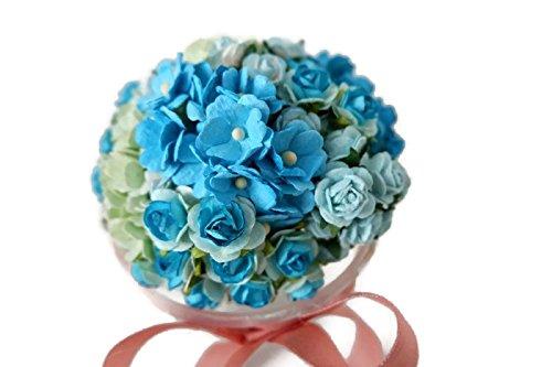 (n.33) 80 Mixed Colors Roses(15mm) & Green &Daisy (15mm) Flower Mulberry Paper Pink Card Scrapbook Craft Wedding DIY Handmade(