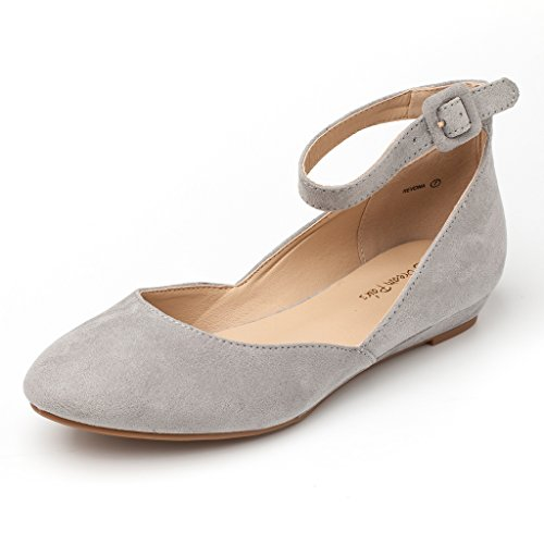 DREAM Ankle Women's PAIRS Low Flats Wedge Revona Strap Suede Grey Shoes XdqXxpw