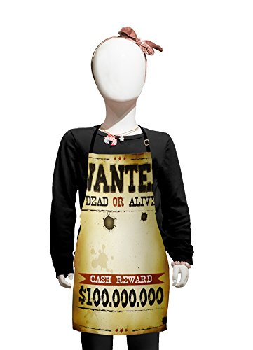 Kids Camel Costume Ideas (Lunarable Western Kids Apron, Old Wanted Placard Print Dead or Alive Bounty Hunter Cash Reward, Boys Girls Apron Bib with Adjustable Ties for Cooking Baking and Painting, Camel Brown and)