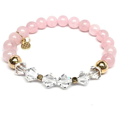 Chloe Sterling Silver Bracelet - Rose Pink Quartz Swarovski Crystal