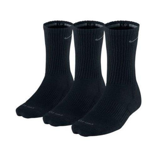 Nike Men's Dri-Fit Cushioned Crew Socks - 3 Pack (Black, XL Shoe Size: 12-15)