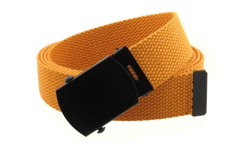 Many Canvas Colors - Canvas Web Belt Military Style with Black Buckle and Tip 56