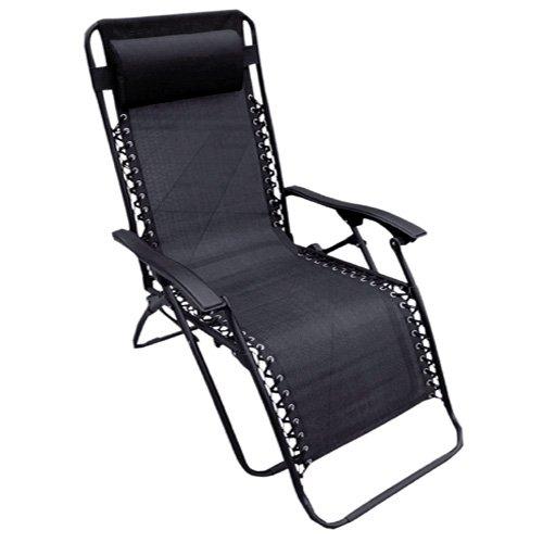 Negro Textoline Zero Gravity reclinable Silla de jardín ...