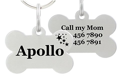 Double Sided Laser Etched Stainless Steel Pet ID Tag for Dog Engraved and Personalized Bone Shape (Stars)