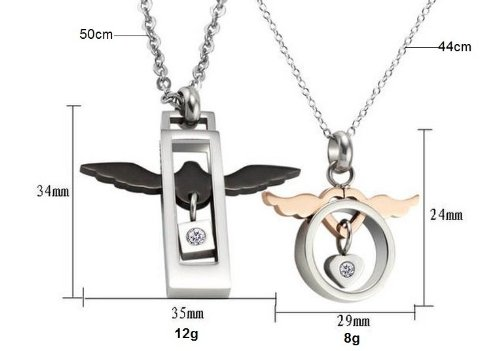 Aegean Jewelry Titanium Couple Pendant Necklace ''Endless Love to You'' Style with a Gift Box and a FREE Small Gift (One Pair) by Titanium Couple Necklace (Image #2)