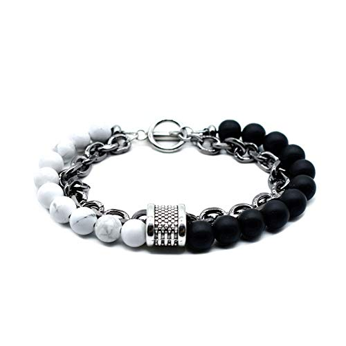 Gemfeel Natural Beaded Bracelets of Stainless Steel Cable Link Chain Toggle Clasp for Men