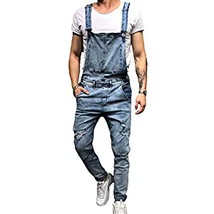 Men's Slim Fit Ripped Denim Overalls Casual Bib Pants Jumpsuit