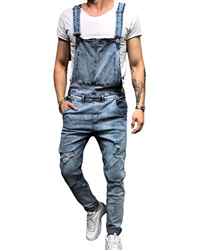 - BAOSHI1 Mens Denim Distressed Bib Jumpsuits Overalls Romper for Carpenter Moto Biker Coveralls (Large, Blue)