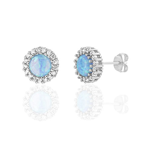 Boys Snowflake Costume Uk (Sterling Silver Created Blue Opal Cubic Zirconia Round Halo Stud Post Earrings (rhodium-plated-silver))