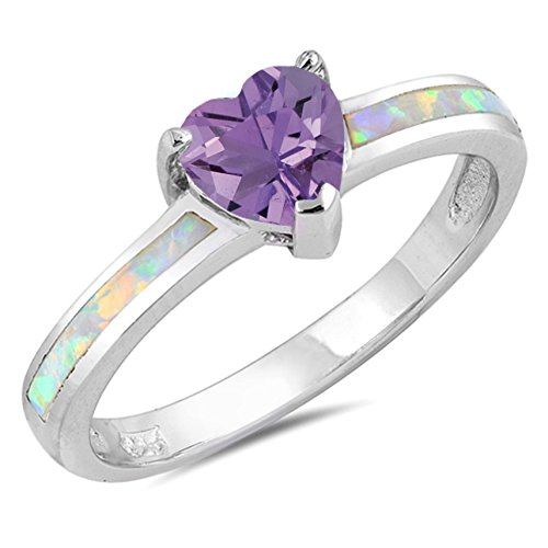 925 Sterling Silver Faceted Natural Genuine Purple Amethyst Heart Promise Ring Size 6