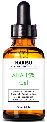 HARISU Cosmeceuticalss AHA 15% Gel - Wrinkle-smoother Natural Exfoliation, Clear blemishes, Hydrate your Skin.