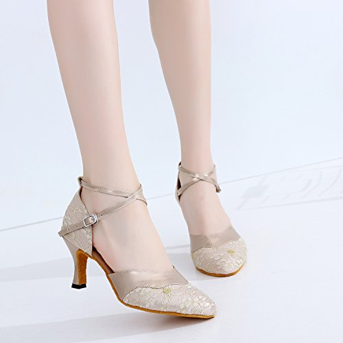 Strap Salsa Sudue Cha Ankle Tango Party Latin PU 7112 Shoes Toe Round Sole Ballroom Kitten Gold CFP Wedding Dance Heel Womens Cha ECx7Rw7qf