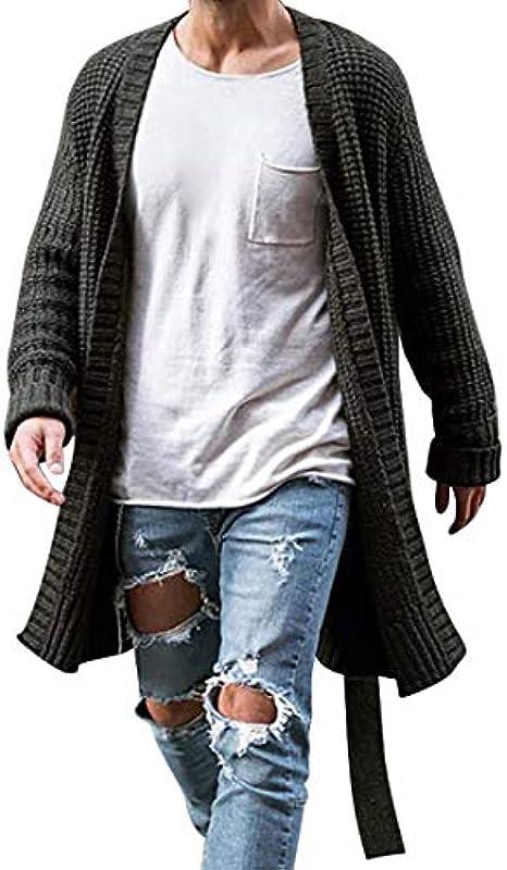 Heflashor męska kurtka z dzianiny, długa, kardigan, grubo dziergany, sweter z paskiem, płaszcz z dzianiny, kardigan z przodu, odzież wierzchnia na jesień i zimę: Heflashor: Odzież