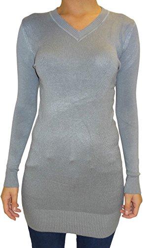Señoras de las mujeres de negocios ocasional con cuello en V elástico del mini vestido del suéter de la tapa Grey