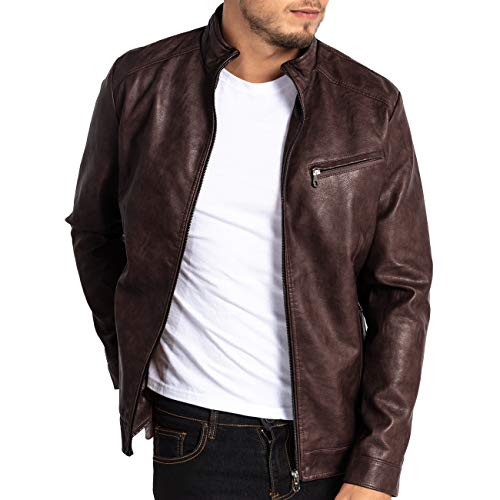 MAGE MALE Mens Leather Jacket Slim Fit Stand Collar PU Motorcycle Jacket Lightweight ()