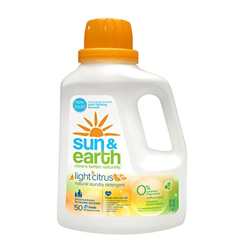 Sun & Earth 2x Concentrated Natural Laundry Detergent, Light Citrus, 50 Fluid Ounce (Pack of 6)
