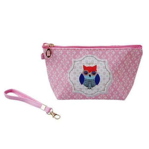 Student Cartoon Owl Pen Pencil Case Cosmetic Pouch Bags Travel Makeup Bags - Y2 (Color - Deep pink)
