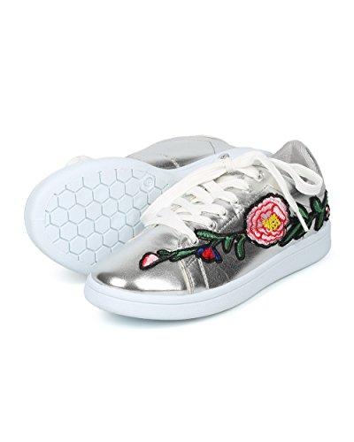 Alrisco Wild Diva Hf82 Donna Stringate Floreali Patch Ricamate Low Top Sneaker - Hf82 By Wild Collezione Diva Argento Metallizzato