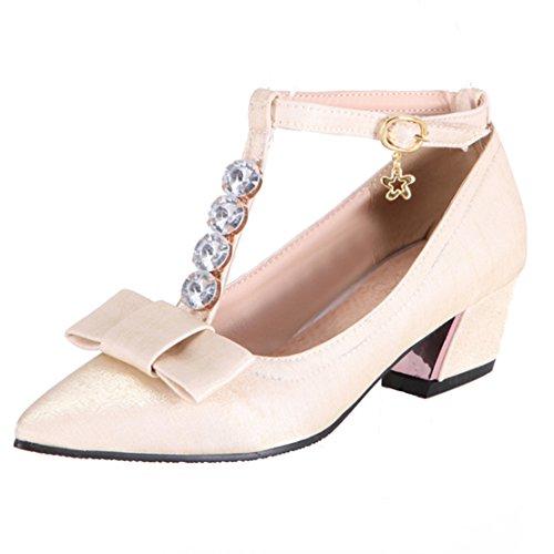 AIYOUMEI Damen T-spangen Satin Spitz Chunky 5cm Heel Knöchelriemchen Pumps mit 5cm Chunky Absatz und Schleife Kleinem Absatz Süß Schuhe Beige 343248