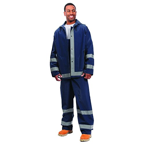 Galeton 12261-L-NB 12261 Repel Rainwear Rain Suit with Reflective Stripes, 0.35 mm PVC, Navy Blue, Large