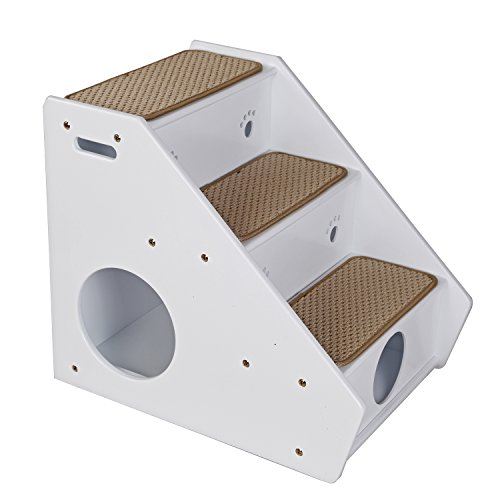Petsfit 3-Steps Dog Stairs,White(21x17x20 inch)