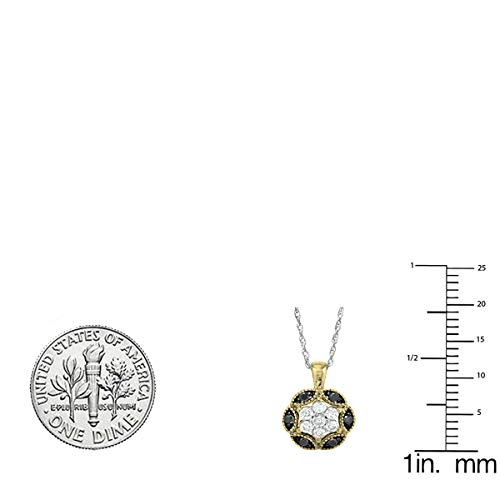 0.25 Carat ctw 10K Gold Round Black White Diamond Ladies Pendant 1 4 CT Silver Chain Included