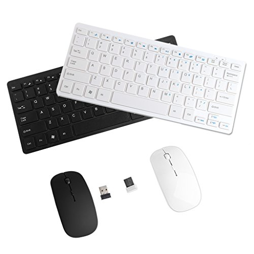 SCASTOE 2.4GHZ USB Wireless Slim Keyboard and Cordless Mouse Combo Kit Set for PC Laptop White