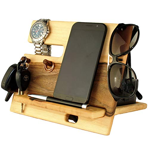 Walnut Light Wood Cell Phone Stand. Nightstand Charging Dock Watches Holder. Mens Wooden Bed Side Valet Tray Organizer. Desk Docking Station Smart Mobile Base. Universal Dresser Caddy Device Storage by BarvA