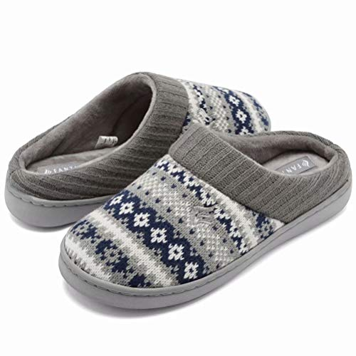 fanture Women's Memory Foam House Slippers Sweater Knit Embroidered Pattern and Ribbed Hand-Knit Collar Navy Blue