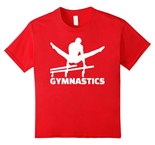 Kids Gymnastics parallel bars T-Shirt 10 Red