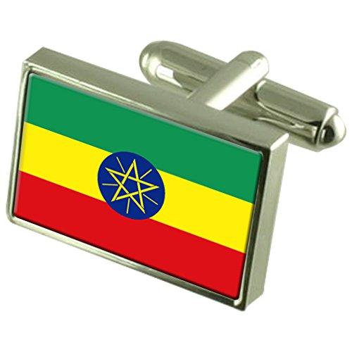 Ethiopie Drapeau en Argent Sterling gravé en manchette boîte personnalisée
