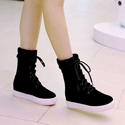 Lace Boots Fur AIWEIYi up Style Black Sole Warm Ankle Winter Retro Womens Thick Booties Black pqwqXvB