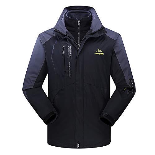 Clearance Mens Jacket! Pervobs Mens Winter Warm Windbreaker Jacket Fleece Liner Outdoor Hoodie Parka Sport Assault Coat(3XL, Black)
