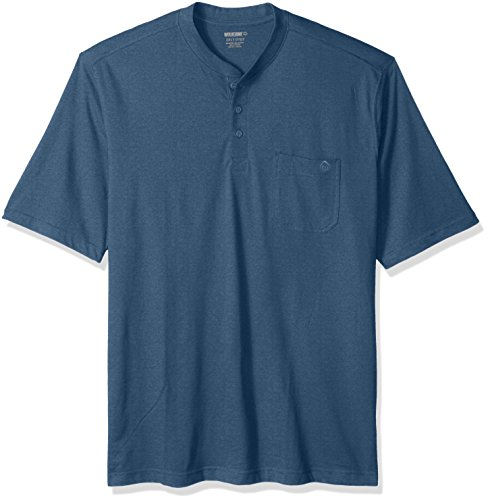 Wolverine Men's Big and Tall Knox Wicking Pocketed Short Sleeve Henley T-Shirt, Cadet Blue Heather, 4X-Large (Cotton Pocketed Henley T-shirt)
