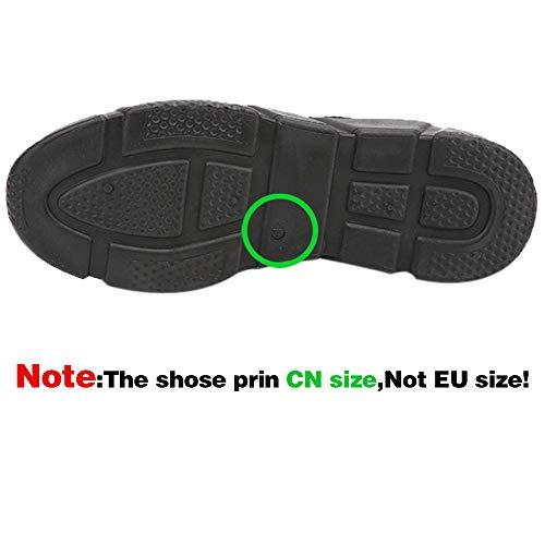 Negro Reflectivo Puntera Al Malla Shoes Hombres Casuales Zapatillas Plataforma Los toe Redondo Alikeey Hiker Deslizamiento Transpirable Cordones Corriendo Zapatos Con Montaña qRpfC
