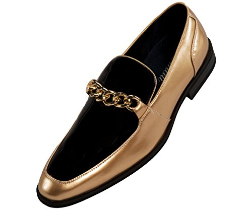 Amali Mens Microfiber & Patent Slip On Dress Shoe with Large Chain Style Vino/Gino - Microfiber Mens Shoes
