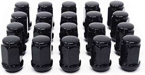 WheelGuard 1954BK バルジドドングリ 2ピース ラグナット 1/2-20 3/4ヘックス ブラッククロームメッキ 24 6527853519311