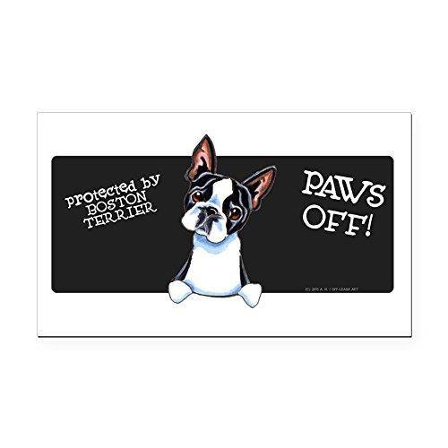 CafePress - Boston Terrier Paws Off Rectangle Car Magnet - Rectangle Car Magnet, Magnetic Bumper -