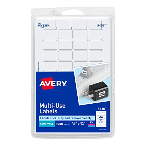 - Avery  Removable Print or Write Labels, White, 0.5 x 0.75 Inches, Pack of 1008 (5418)