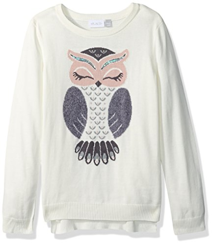 The Children's Place Big Girls' Graphic Knit Sweater, Snow 84974, S (5/6) by The Children's Place (Image #1)