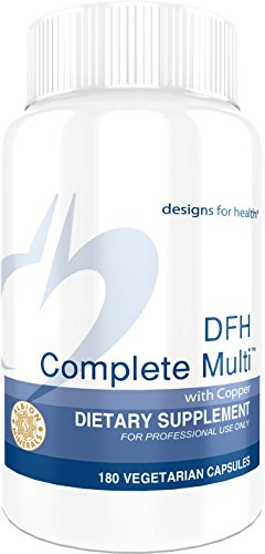 Designs for Health - DFH Complete Multi with Copper - Bioavailable Full-Spectrum + Chelated Minerals, Iron Free, 180 Capsules (Super Chelated Iron)