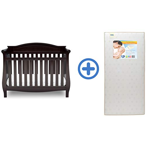 Delta Children Lancaster 4-in-1 Convertible Baby Crib & Twinkle Stars Waterproof Fiber Core Crib and Toddler Mattress, Dark Chocolate ()