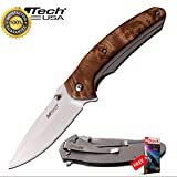 FOLDING POCKET Sharp KNIFE Mtech 3.5'' Silver Blade Tactical Ultilty EDC Burl Wood Combat Tactical Knife + eBOOK by Moon Knives