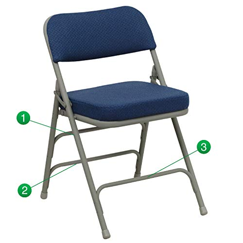 Flash Furniture HERCULES Series Premium Curved Triple Braced & Double Hinged Navy Fabric Metal Folding Chair (Rv Series Guitar)