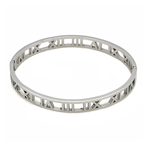 Baoliren Stainless Steel Hollow Out Roman Numerals Bracelet Bangle for ()