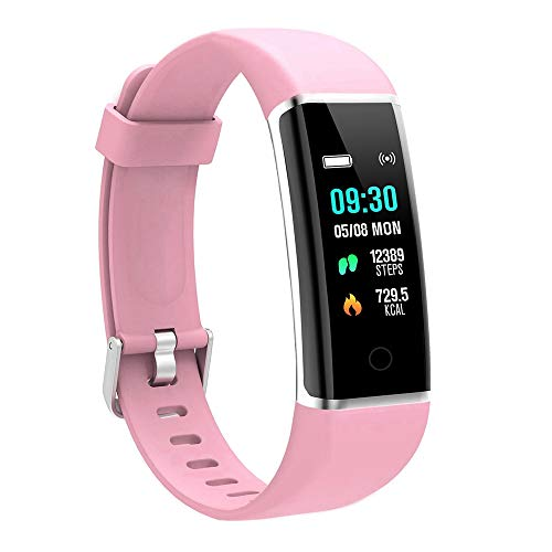 moreFit Fitness Tracker, Solo Waterproof Exercise Watch Active Sleep Alarm Monitors Pedometers for Walking, Steps Miles Calories GPS Counter, Smart Wristband Bracelet for Women Kids Men (Pink)